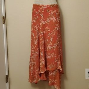 Lane Bryant pink flower flowy ruffle skirt 18/20